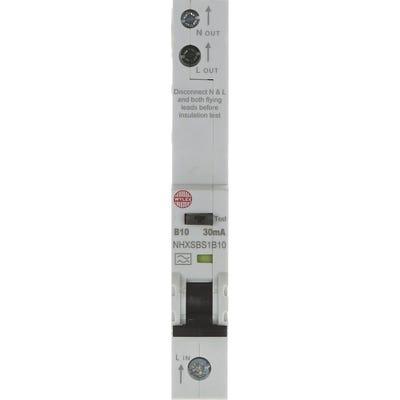 Wylex RCBO Single Pole Single 10A 30mA Module B NHXSBS1B10