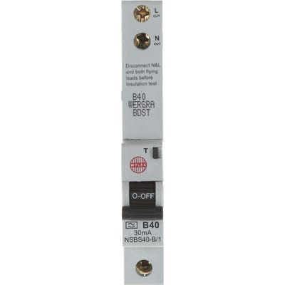 Wylex RCBO Single Pole Single 40A 30mA Module B NHXSBS1B40