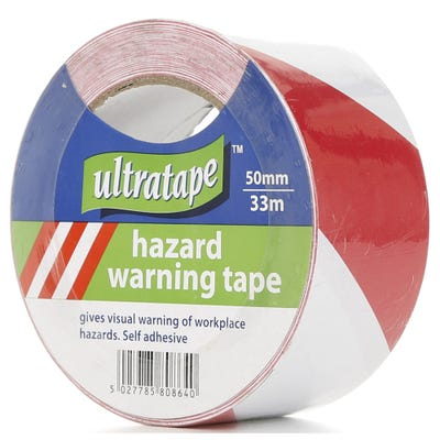 Ultratape PVC Hazard Warning Tape Red & White 50mm x 33m