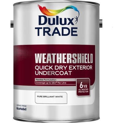 Dulux Trade Weathershield Quick Dry Exterior Undercoat Pure Brilliant White 5L