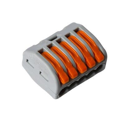 Wago 5 Way Lever Cable Connector 222 Series Grey/Orange Box Of 40