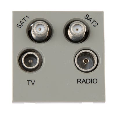 BG Nexus Euro TV, Radio, Dual Satellite Quadplex Module Grey EMTVFMSAT2G-01