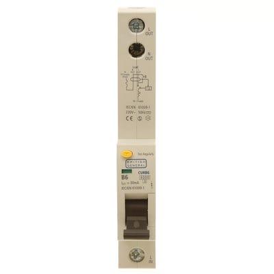 BG Nexus RCBO Single Pole 6A Type B CURB6