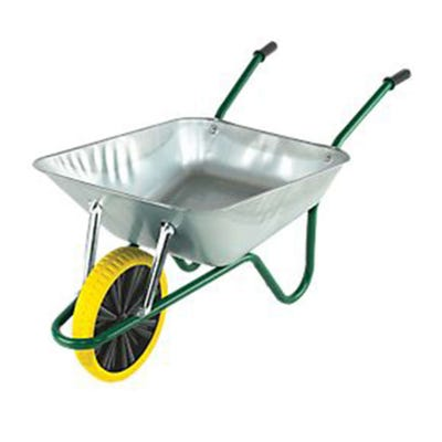 Walsall 90L Galvanised Endurance Wheelbarrow Includes Yellow Puncture Proof Wheel