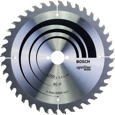 Bosch Circular Saw Blade Optiline Wood 250 x 3.2 x 30mm 40T