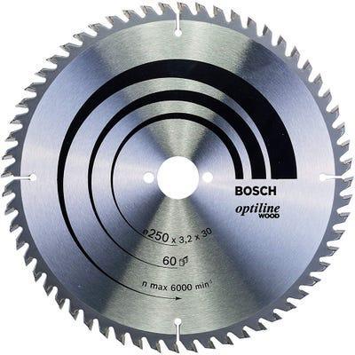 Bosch Circular Saw Blade Optiline Wood 250 x 3.2 x 30mm 60T