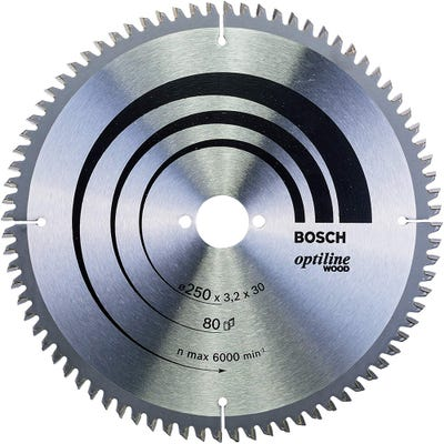 Bosch Circular Saw Blade Optiline Wood 250 x 3.2 x 30mm 80T
