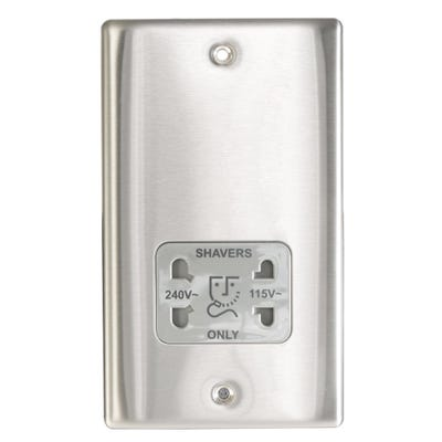 BG Nexus 115/230V Dual Voltage Shaver Socket Brushed Steel with Grey Insert NBS20G-01
