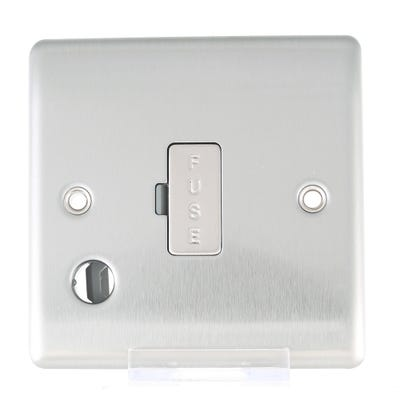 BG Nexus 13A Unswitched Fused Connection Unit with Cable Outlet Brushed Steel NBS55-01