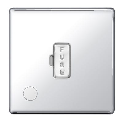 BG Nexus Screwless Flatplate 13A Unswitched Fused Connection Unit with Cable Outlet Polished Chrome FPC55-01