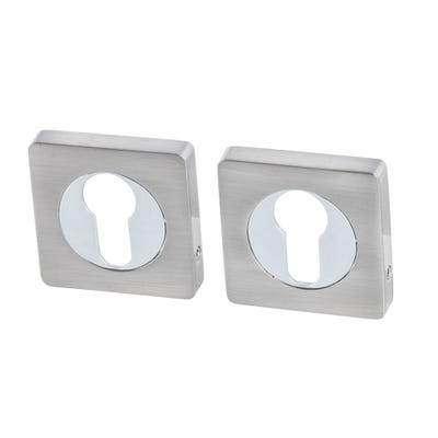 Euro Profile Escutcheon on Square Rose Satin Nickel & Polished Chrome (Pair)