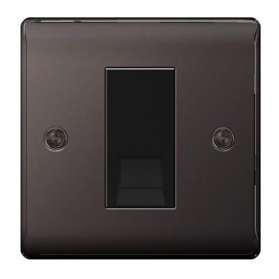BG Nexus 1 Gang RJ11 Telephone Outlet Socket Black Nickel NBNRJ111-01