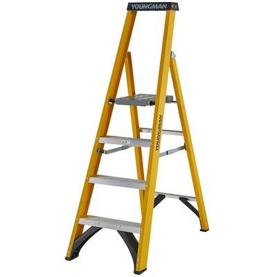 Youngman 4 Tread Heavy Duty Glass Fibre Platform Step Ladder