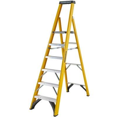 Youngman 6 Tread Heavy Duty Glass Fibre Platform Step Ladder