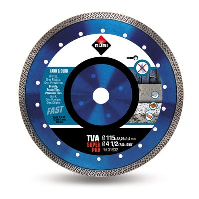 Rubi TVA 115mm Superpro Turbo Viper Diamond Blade (Hard Materials)