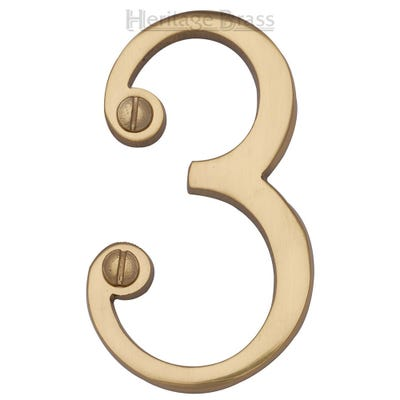 Heritage Brass Number Three in Polished Brass