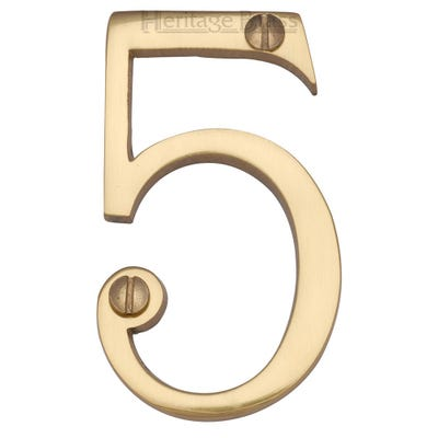 Heritage Brass Number Five in Polished Brass