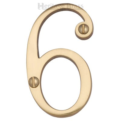 Heritage Brass Number Six in Polished Brass