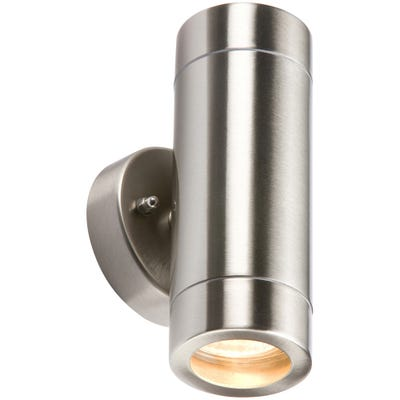 Knightsbridge 2 X 35W P65 GU10 Up & Down Fixed Wall Light Stainless Steel