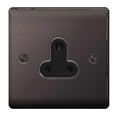 BG Nexus 5A 1 Gang Unswitched Round Pin Socket Black Nickel NBN29B-01