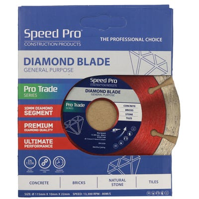 Speed Pro Trade 115mm General Purpose Diamond Blade 10mm Dia Segment