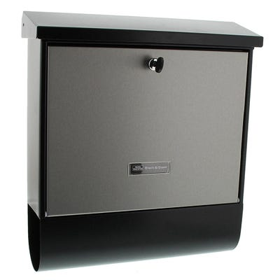 Sterling London Letterbox Mailbox in Stainless Steel & Black