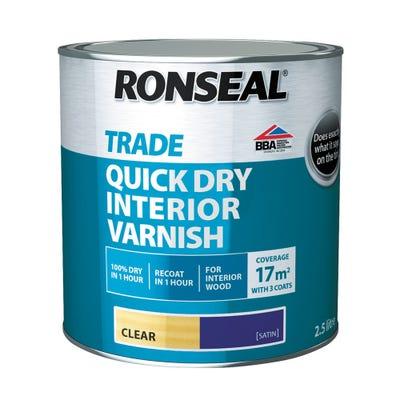 Ronseal Trade Quick Dry Interior Varnish Clear Satin
