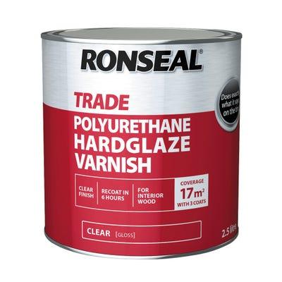 Ronseal Trade Polyurethane Hardglaze Varnish Clear Gloss