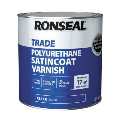 Ronseal Trade Polyurethane Satincoat Varnish Clear