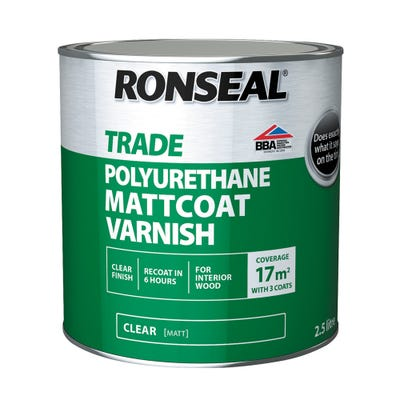 Ronseal Trade Polyurethane Mattcoat Varnish Clear