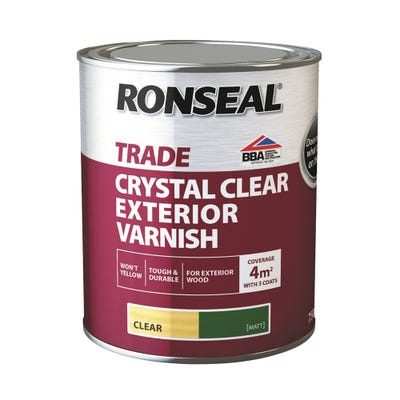 Ronseal Trade Exterior Varnish Crystal Clear Matt 750ml