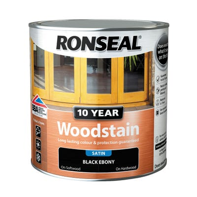 Ronseal 10 Year Woodstain Ebony Black 2.5L