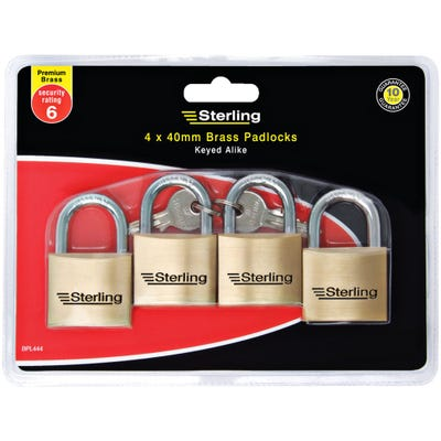 Sterling Keyed Alike Padlock Solid Brass 40mm Pack of 4