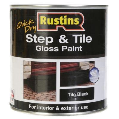 Rustins Quick Dry Step & Tile Gloss Black Paint 1L