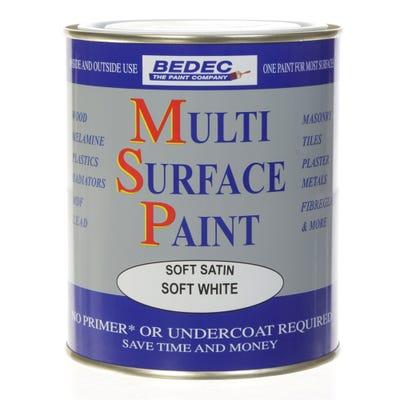 Bedec Multi Surface Paint Soft Satin White 750ml