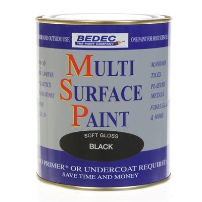 Bedec Multi Surface Paint Soft Gloss Black 750ml