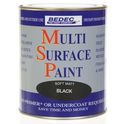 Bedec Multi Surface Paint Soft Matt Black 750ml