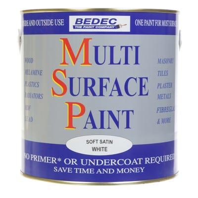 Bedec Multi Surface Paint Soft Satin White 2.5L