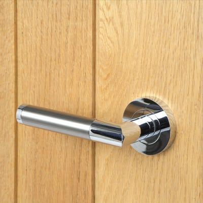 Crown's Delta Door Handle Set with 3 Fire Door Hinges & 76mm Latch