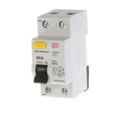 FuseBox 80A 30mA Double Pole Consumer Unit RCD