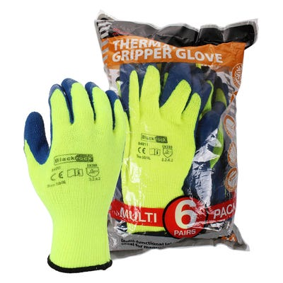 Blackrock Thermal Latex Gripper Gloves Pack of 6 Size 10/XL