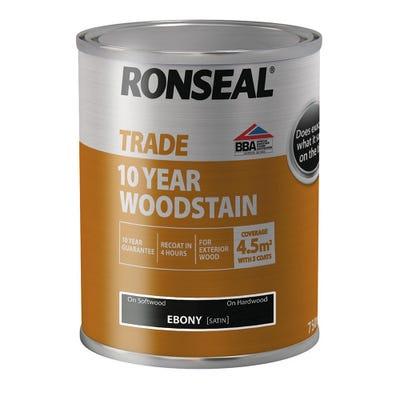 Ronseal Trade 10 Year Woodstain Ebony Black 750ml