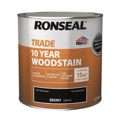 Ronseal Trade 10 Year Woodstain Ebony Black 2.5L