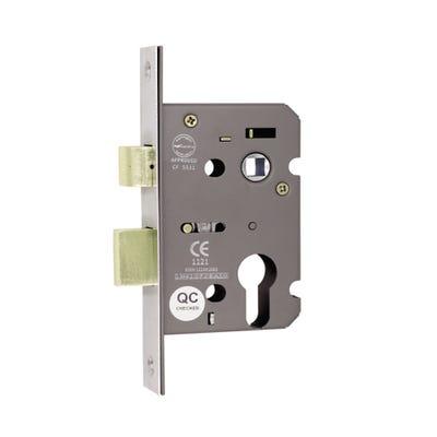 Euro Profile Fd Certifire Commercial Sash Lock 76mm Satin Nickel