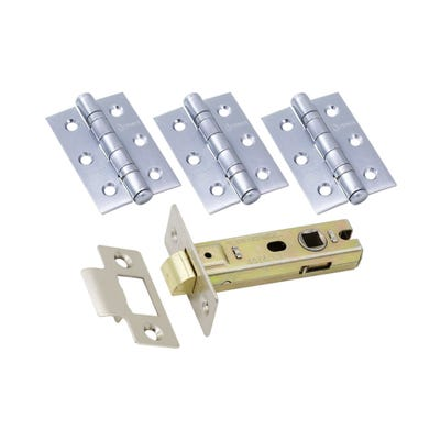 Ce Fire Door Pack - 76Mm Latch - 3 Hinges Polished Chrome