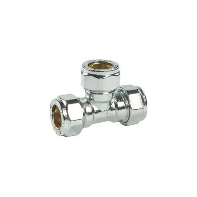 Compression Chrome Equal Tee 15mm