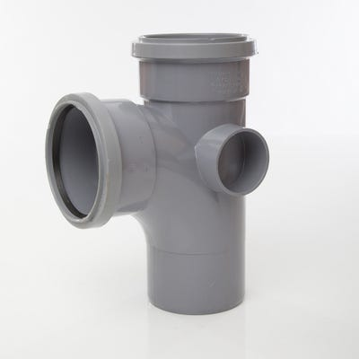 110mm Polypipe 92.5° Equal Branch Double Socket Grey ST401G