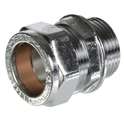 Compression Chrome Male Coupling 22mm x ¾''