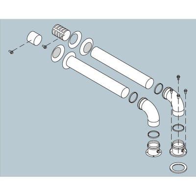 Biasi HE Twin Horizontal Flue Kit - 1.0m Length x 80mm Diameter