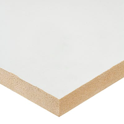 18mm White Melamine Faced MDF Board 2440mm x 1220mm (8' x 4') Pack of 40